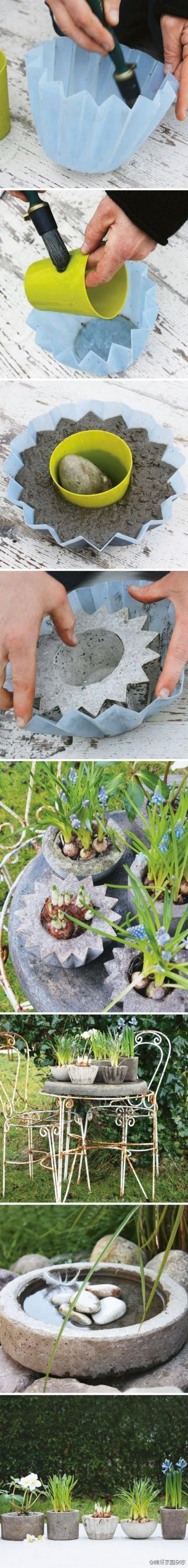 DIY concrete planters, bird bath, candleholders and more by kasrin.knackebrot
