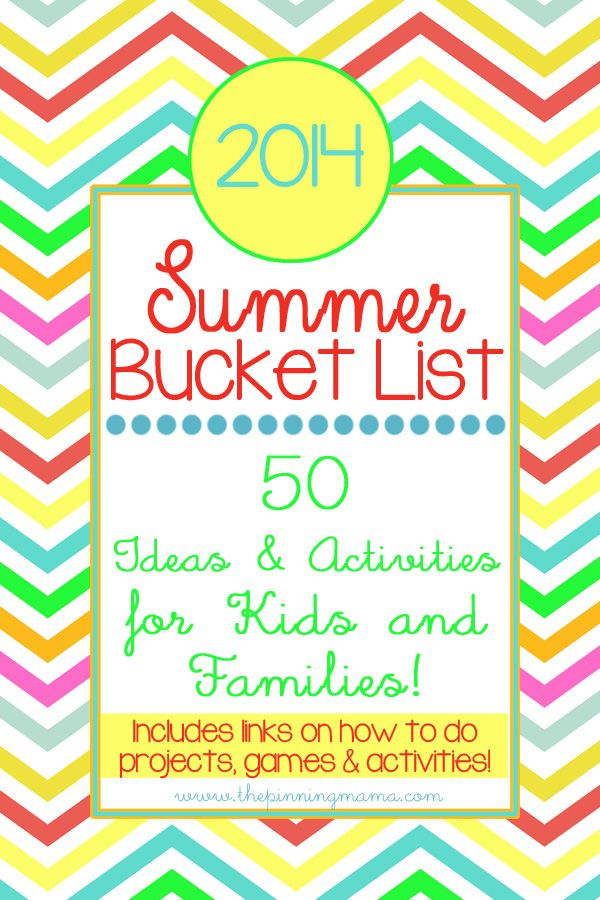 Summer Bucket List *2014* 50 Summer ideas  activities for kids and families. Click to download free printable checklist!