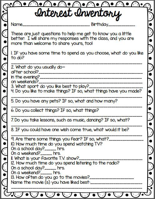 interest inventory for 5th grade students - Google Search