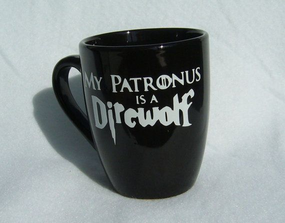 Game of Thrones Harry Potter inspired  My Patronus is a Direwolf  Hogwarts House Stark 12 oz ceramic coffee mug handmade