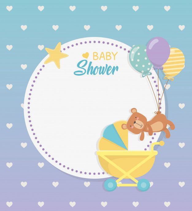 Baby Shower Circular Card With Bear Teddy In Baby Cart Free Vector Free Vector Freepik Vector Freebaby Freecard Baby Shower Free Baby Stuff Baby Images