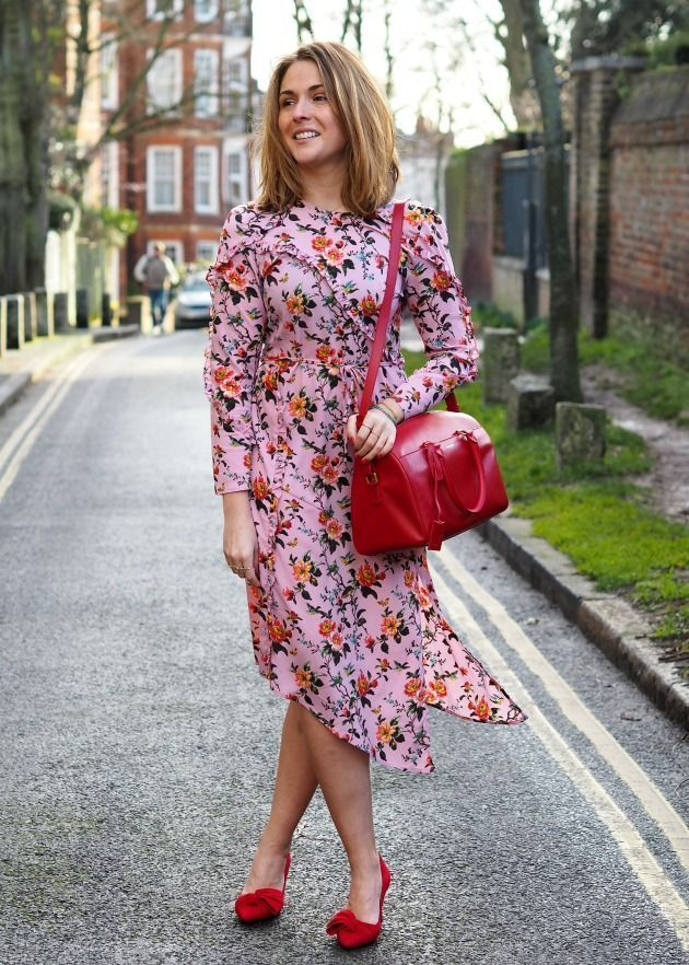 f48c0eab62b7 Pink Floral Print Midi Dress | Pretty, Lovely, and Beautiful Skirts ...