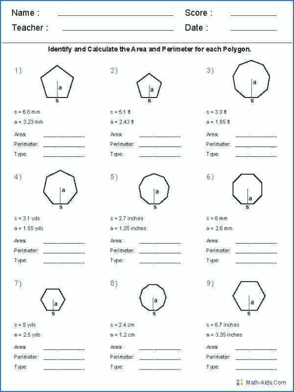 22 Area Of Regular Polygon Worksheet Geometry Worksheets Area