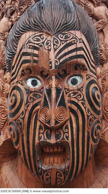 New Zealand, North island, Rotorua, Maori Sculpture at Te Puia Cultural Center.