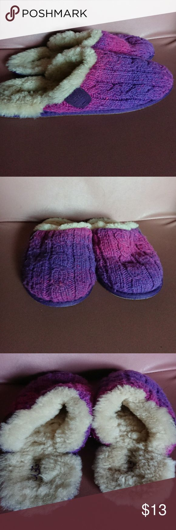 "Ugg 5 shearling slippers purple pink knit used Pre-owned no defects, tag lost sole measures 9"" 3/8 Ugg Shoes Slippers"