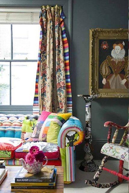 Fun young bohemian look.  51 Inspiring Bohemian Living Room Designs | DigsDigs
