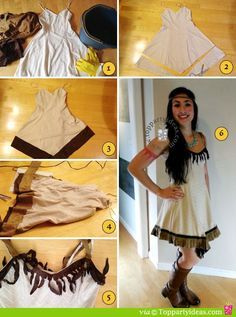 Easy No Sew DIY Pocahontas or Native American Indian Costume. Full tutorial and pictures. http://www.toppartyideas.com/pocahontas-costume/