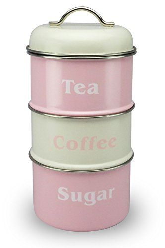 Vintage Pastel Pink and Cream 3 Tier Storage Canister Waterside Fine China www.amazon.co.uk/...