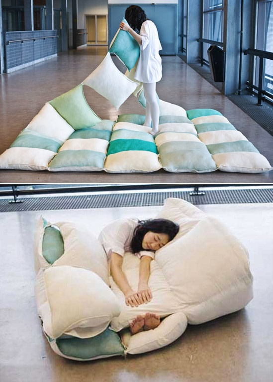 Fun idea! Pillow blanket/beanbag chair - try making with #reclaimed pillows and #vintage textiles!