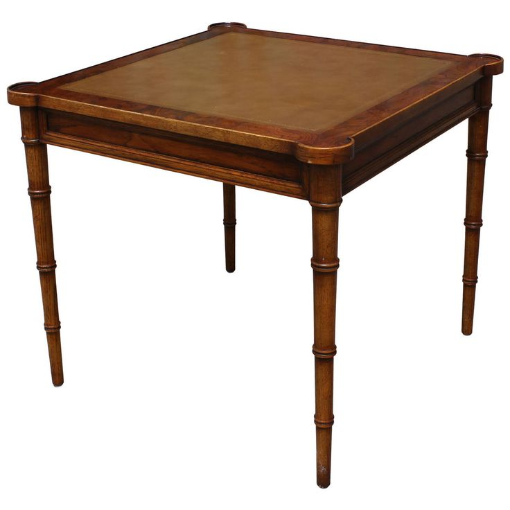 Elegant Burl Faux Bamboo And Leather Game Table | From A Unique Collection  Of Antique And