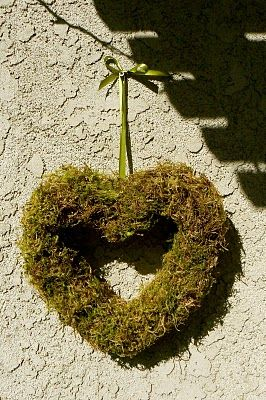 Heart shaped moss wreath for Valentine's Day or Anyday!