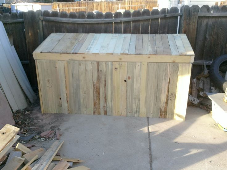 17 best images about pallet wood storage on pinterest for Storage box made from pallets