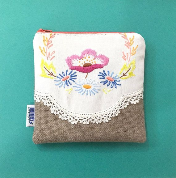 Vintage Embroidered Linen Zipper Pouch by JuneberryStitches