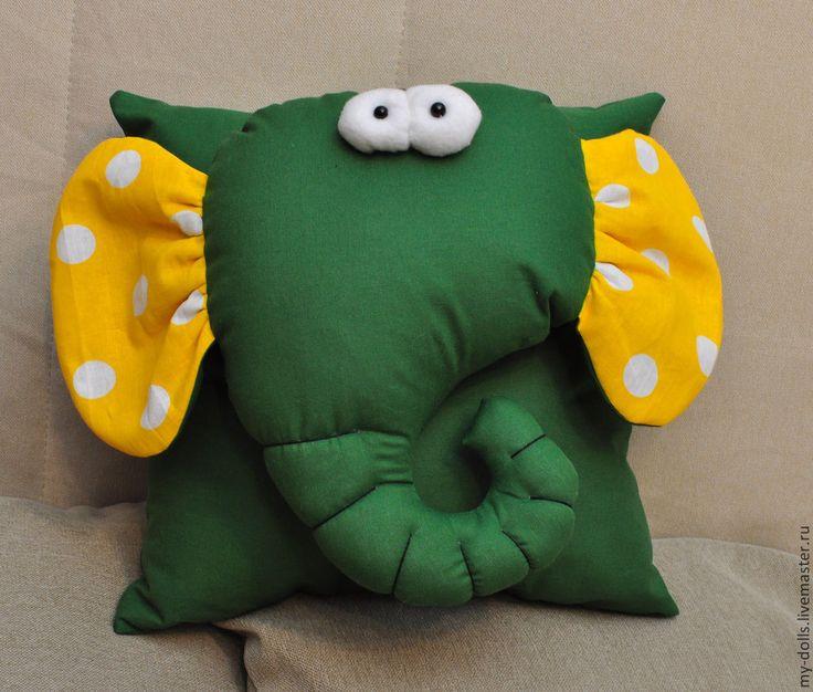 Купить Подушка слон. - зеленый, слон, подушка, слоник, подушка-игрушка, подушка…