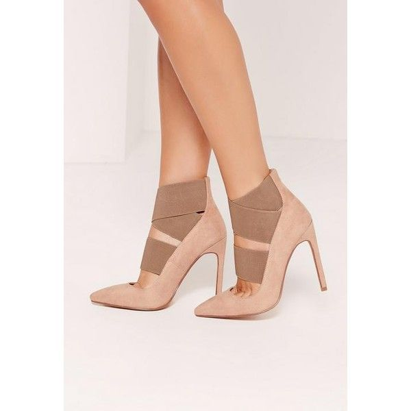 Missguided Nude Faux Suede Elastic Strap Court Shoes ($32) ❤ liked on Polyvore featuring shoes, pumps, pink, nude court shoes, pink shoes, nude footwear, pink pumps and nude shoes