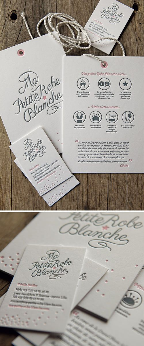 Cartons étiquettes et cartes de visite Ma petite robe blanche imprimés en 2 couleurs / letterpress business cards and tag cards printed onto 600g…