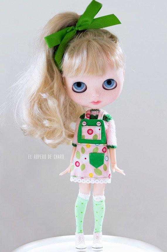 Bib kombinézy šaty a svetr pro Blythe panenka - bryndáček sukni a svetr pro Blythe panenky