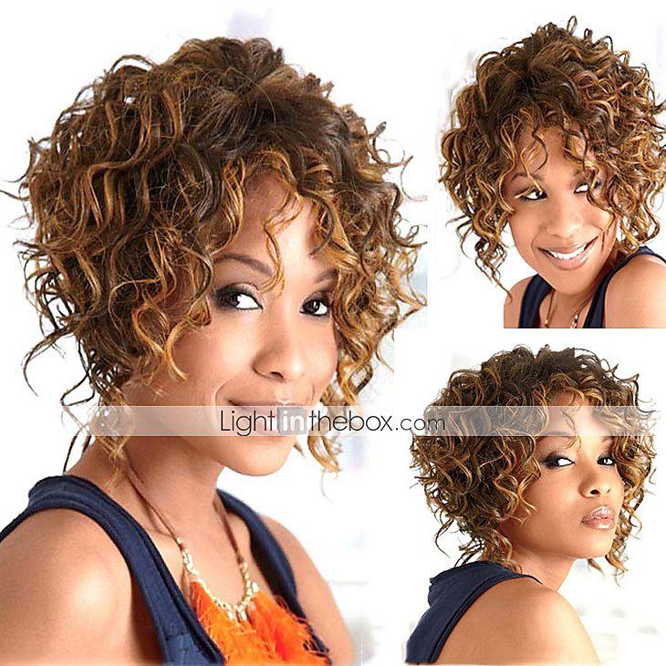 comprimento médio cabelo encaracolado luz tecer europeu cabelos mistos peruca de…                                                                                                                                                     Mais