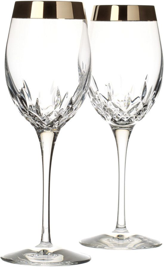 Waterford Lismore Essence Wide Platinum Band Wine Glass Pair