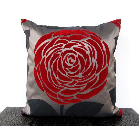 loovee@Etsy: Ecofriend Pillows, Pillows Covers, Covers 16, 18 Etsy, Rose Pillows, Handmade Ecofriend, Home Decor, Red Rose, Satin Handmade