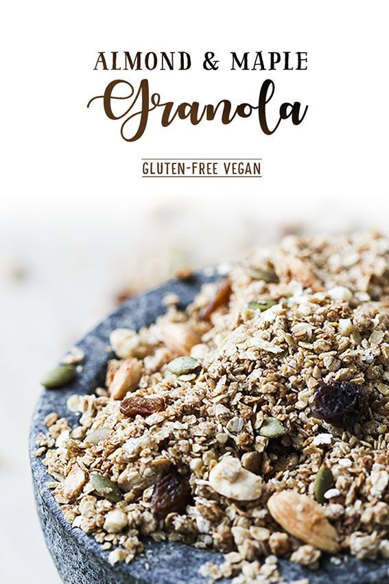 Almond & maple syrup granola – gluten-free & vegan by Trinity