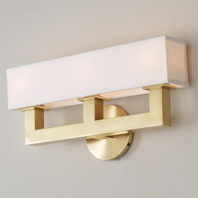 Linen Box Shade Sconce 3 Light Contemporary Style Bath Lights