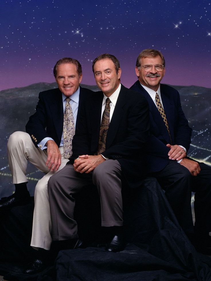 "Frank Gifford's life in photos... Frank Gifford (left) joined Al Michaels and Dan Dierdorf on the ""Monday Night Football"" team."
