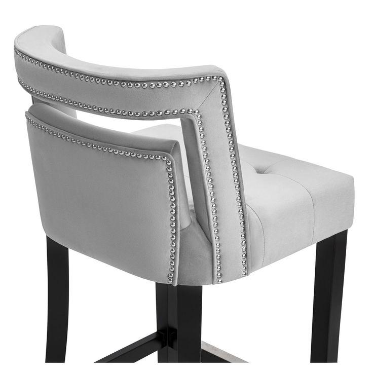 Hart Grey Velvet/Birchwood/Stainless Steel Bar Stool With Bronze Finish | Overstock.com Shopping - The Best Deals on Bar Stools