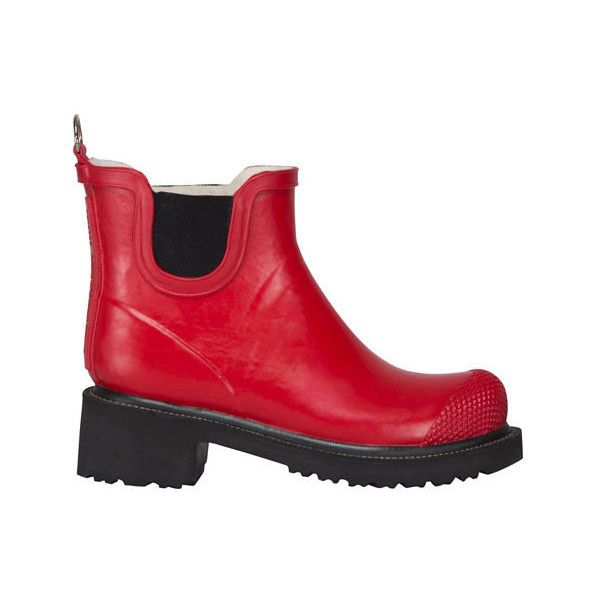 Women's Ilse Jacobsen Short Rubber Boot ($176) ❤ liked on Polyvore featuring shoes, boots, casual, rain boots, red, waterproof boots, red rain boots, wellies boots, short rubber boots and red boots