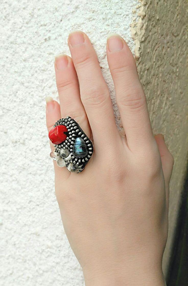 Anillo de Coral rojo anillo de cremallera por UniqueLadyStyle
