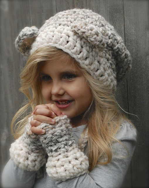 Hat and fingerless gloves set -- crochet pattern, toddler to adult sizes available