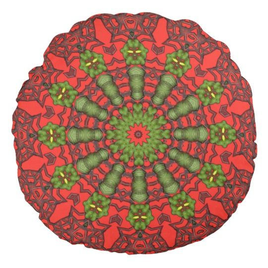 3D Art Mandala Round Throw Pillow by www.zazzle.com/htgraphicdesigner* #zazzle #gift #giftidea #round #pillow #cushion #red #abstract #mandala