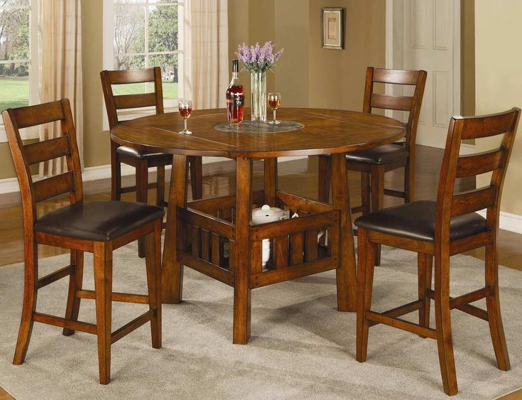 Coaster Lavista Round/Square Counter Height Dining Set   Dark Oak Finish  With A Built
