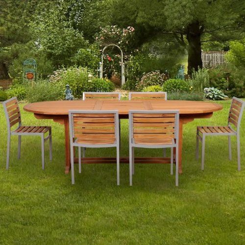 Caluco Teak 6 Person Wood Patio Dining Set With Stacking Chairs By Caluco.  $2249.00