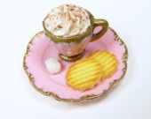 Cappuccino Snack Time with Cookies - Baby Pink - 12th Scale Miniature FoodMiniatures Food, Tiny, Scales Miniatures, Dolls Miniatures, Dolls House'S, Cappuccinos Snacks, 12Th Scales, Baby Pink, Dollhouse Miniatures