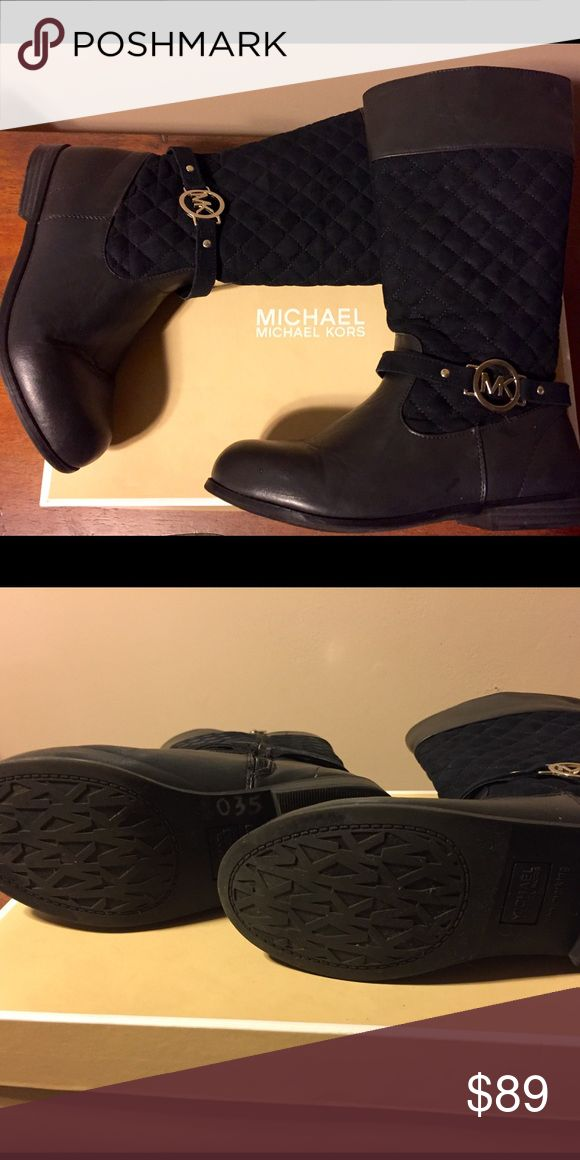 Authentic MK boots never worn. Women's 7/Girl's 5. Authentic MK boots never worn. Box available. Price tag was taken off of the heel after purchase. Women's 7/Girl's 5. Not over the knee boot – just the closest category. These boots hit under the knee Michael Kors Shoes Over the Knee Boots