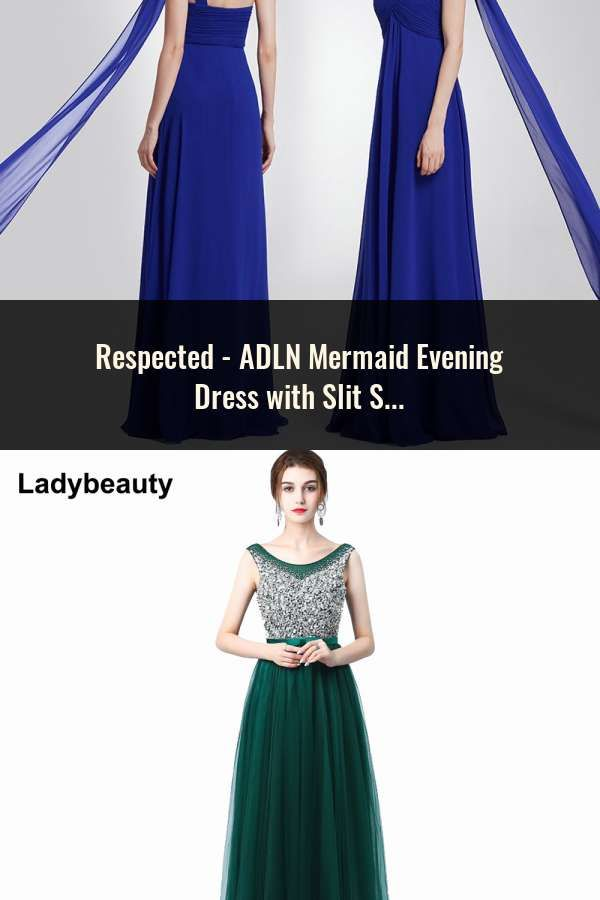 9271fdbd8e ADLN Mermaid Evening Dress with Slit Scoop Sequin Long Prom Dress Cheap  Party Gown Rose Gold Green Burgundy Black Red Blue
