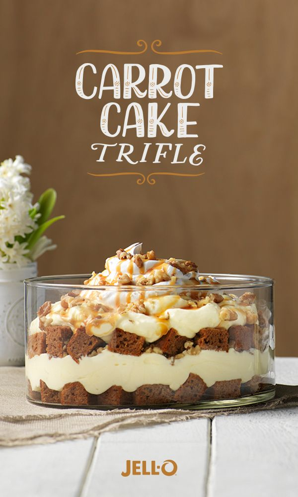 This impressive trifle takes carrot cake to the next level. Start with JELL-O Vanilla Flavor Instant Pudding, KRAFT Caramels, cream cheese and carrot cake mix. Top with walnuts for an added nutty crunch.