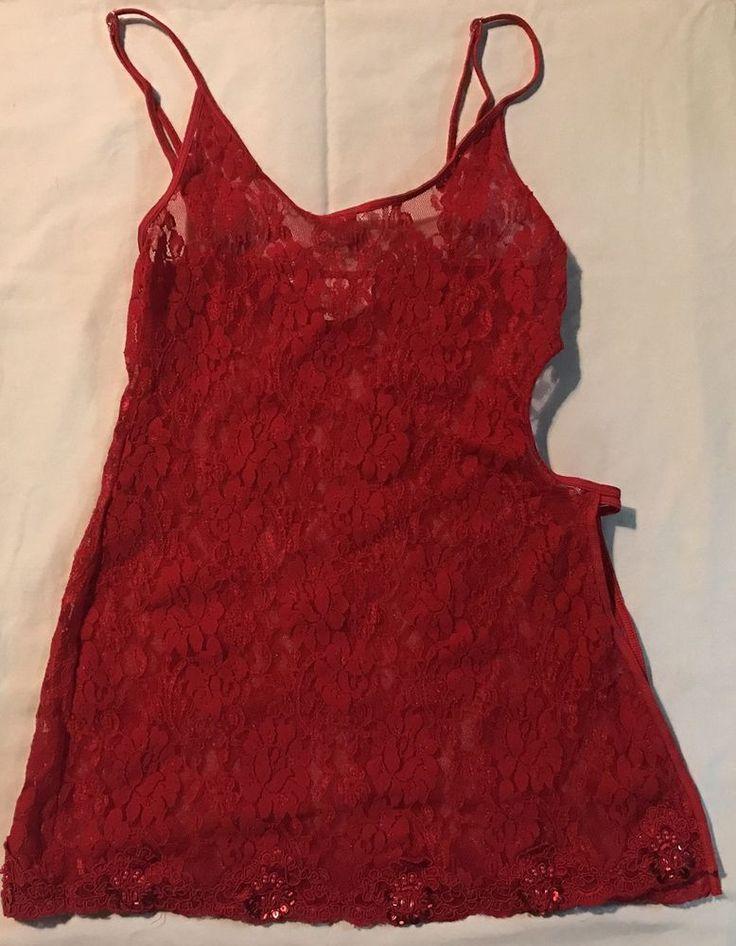 Victorias Secret Red Lace Teddy sz S Sexy Peek A Boo side Lingerie Sequins #VictoriasSecret