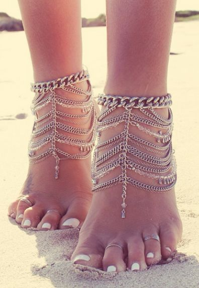 Feet+chainBarefoot Jewelry / Barefoot SandalsMore Pins Like This At FOSTERGINGER @ Pinterest