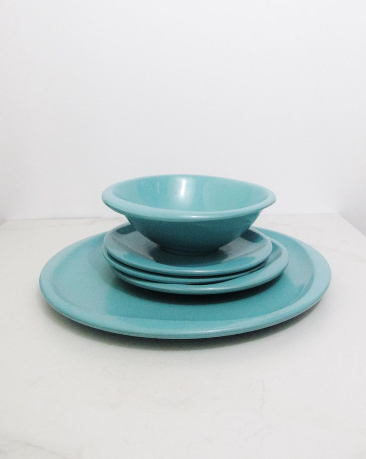 Vintage Dinnerware Five Teal Boontonware Dishes : turquoise dishes dinnerware - pezcame.com