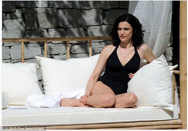 She's in fashion: Rachel looks incredible as she poses in a bathing suit for the movie