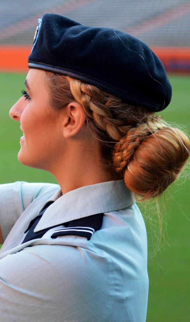 Military hairstyle #army #uniform #bun #braid | Keira's ...