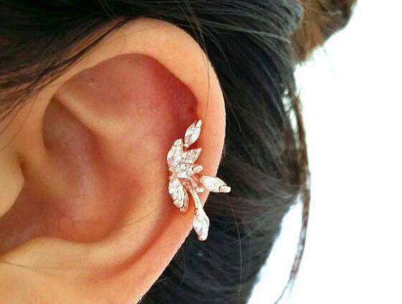 $13 CZ Flower cartilage earring, fashion earrings, elegant ear sweeps, fancy ear Climbers, fashion ear jackets, elegant lotus flower earrings