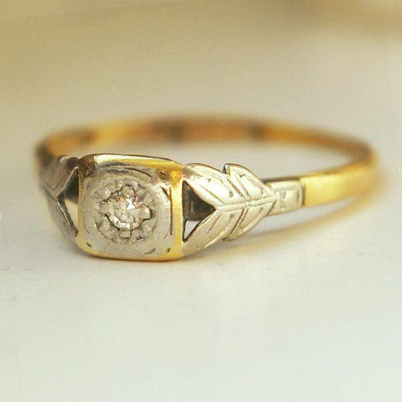 Antique 1910 Platinum Leaves Diamond and 18k Gold Ring