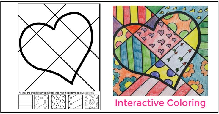 Fun in February with my interactive coloring sheets for Valentine's Day.