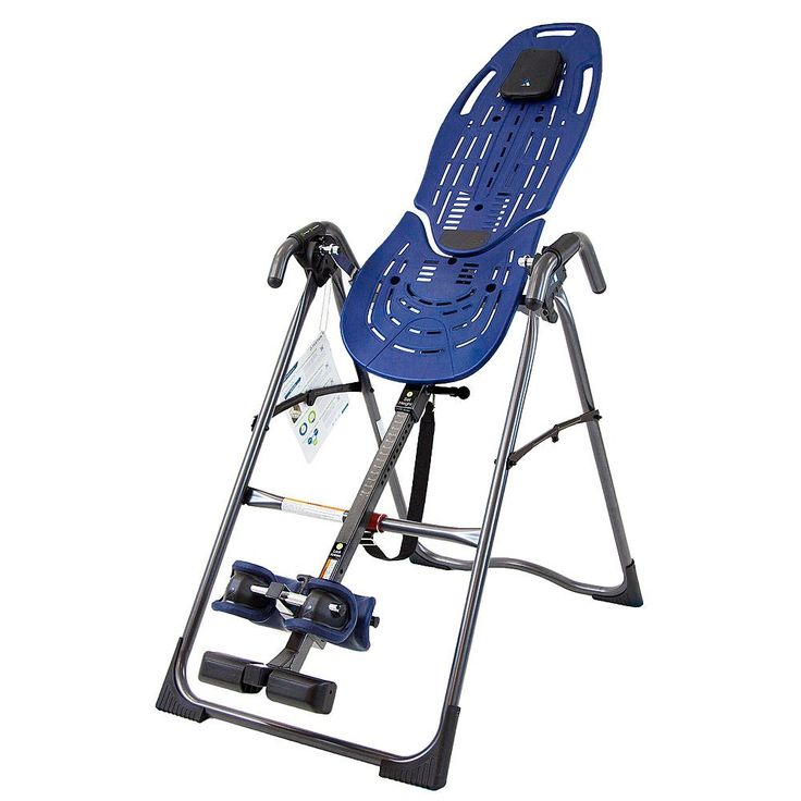 Evelove EP-560 Inversion Table with Back Pain Relief DVD. Smooth, durable and easy-to-clean bed surface reduces friction to optimize decompression and comfortably flexes with the user during movement and stretching. Stretch Assist Handles provide a large grip surface to assist the user and an embossed inversion angle guide. Ankle Comfort Dial foot platform dials up or down for a customized, secure fit. Unique and Patented Security Features like auto-locking hinges, cam locks, specialized...