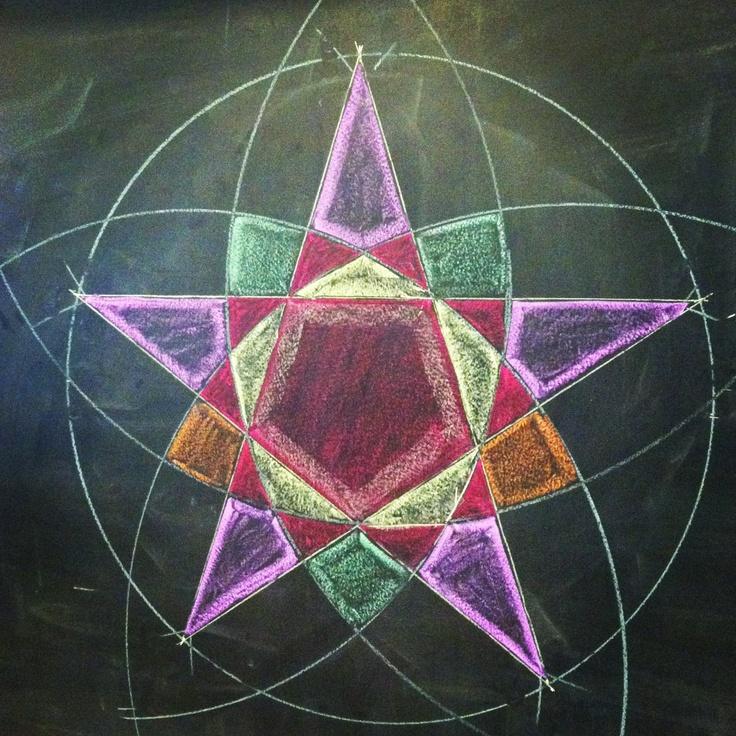 Waldorf ~ 6th grade ~ Geometric Drawing ~ Pentagonal Design ~ chalkboard drawing