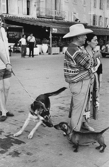 By Marc Riboud. Picasso and his dog at Saint- Tropez, 1 9 5 7.
