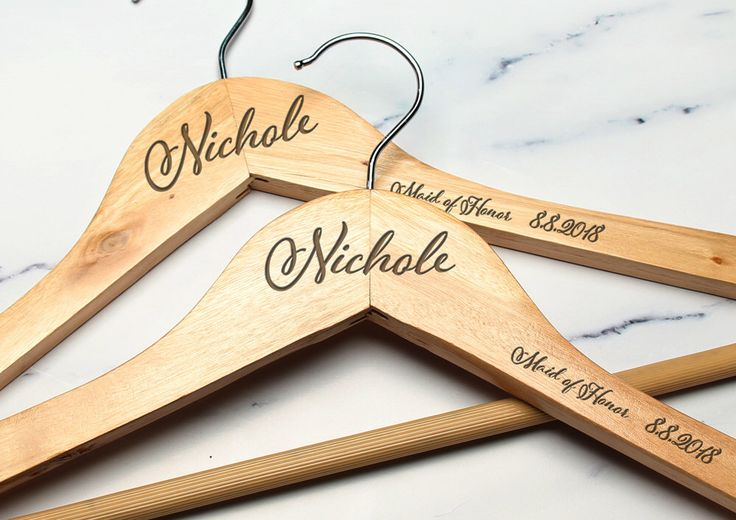 Personalized Wood Engraved Hangers (1pc) by DesignGiftIdeas on Etsy https://www.etsy.com/listing/387072230/personalized-wood-engraved-hangers-1pc